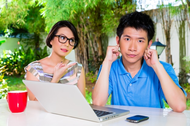 Chinese mother and asian son at home Premium Photo