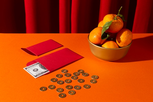 Chinese new year 2021 lucky coins and yen money Free Photo