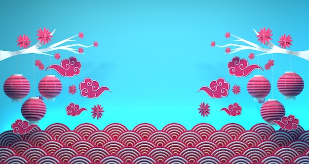 Chinese new year banner background 3d rendering Premium Photo