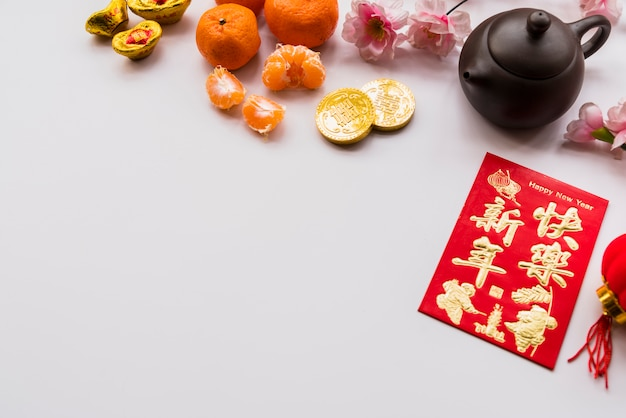 Chinese new year concept with tea pot Free Photo