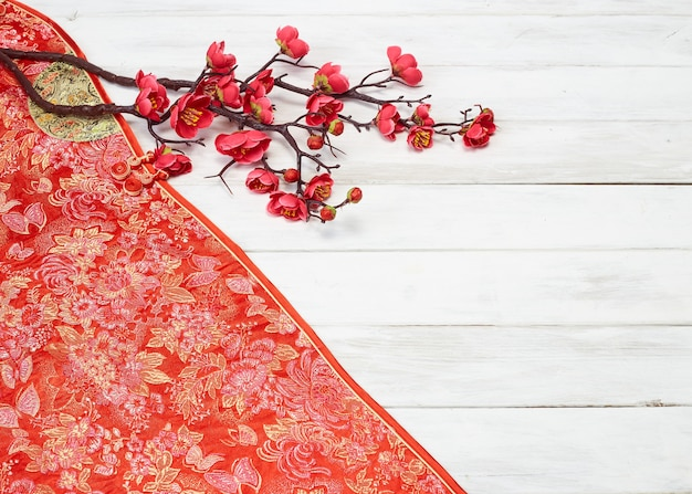 Chinese new year decoration on a red background Premium Photo