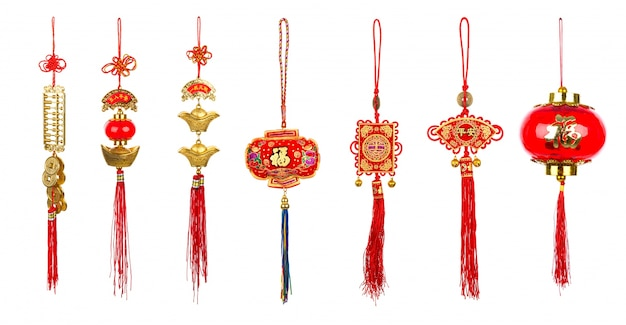 Chinese new year decoration on white background Free Photo