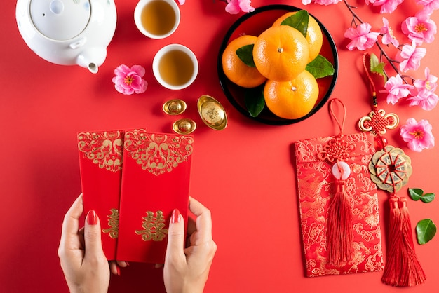 Chinese new year festival decorations background concept Premium Photo