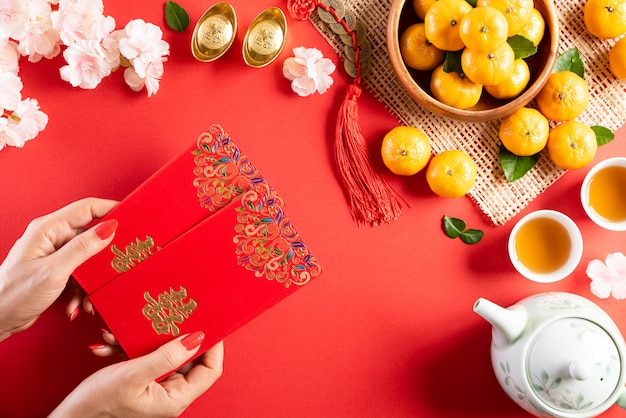 Chinese new year festival decorations red background. Premium Photo