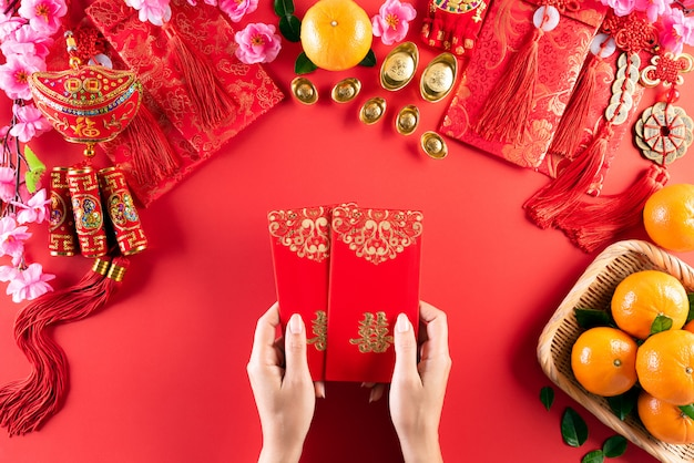 Chinese new year festival decorations on a red background. Premium Photo