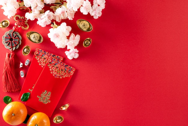 Chinese new year festival decorations on a red Premium Photo