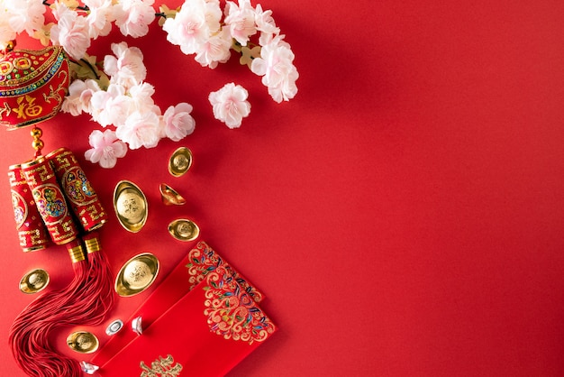 Chinese new year festival decorations on a red . Premium Photo