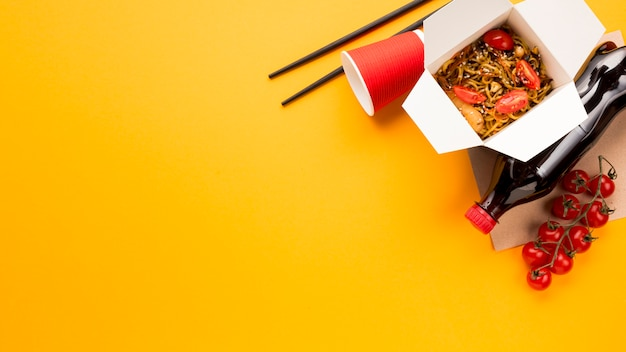 Chinese noodles fast food with soda Free Photo