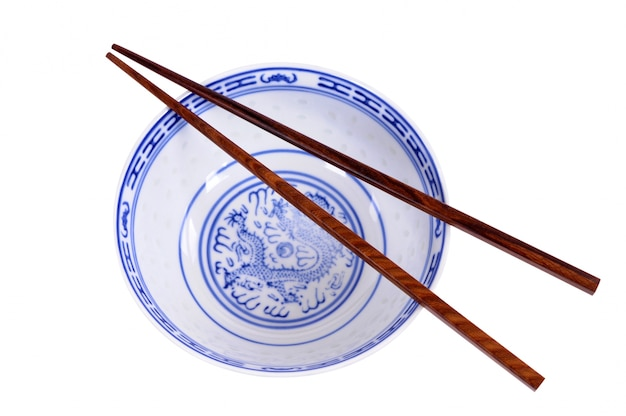 Chinese rice bowl with chopsticks Free Photo