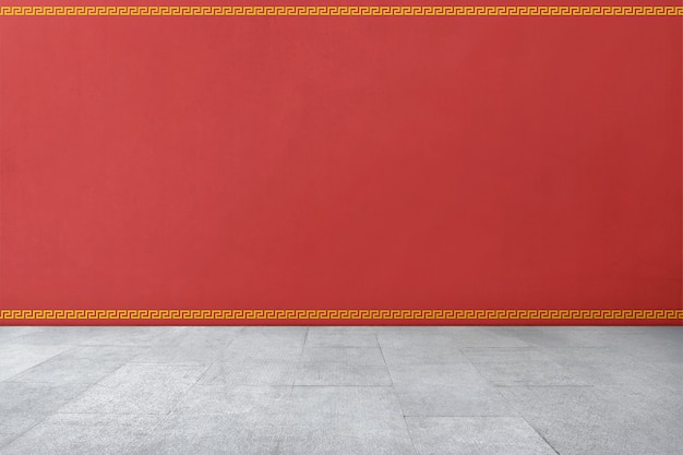 Chinese traditional style pattern on red wall Premium Photo