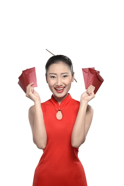 Chinese woman in red cheongsam dress Premium Photo