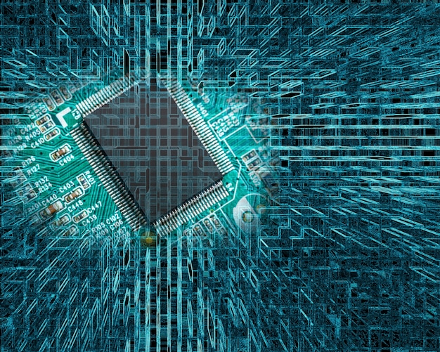 Chip on circuit board on abstract technology background Free Photo