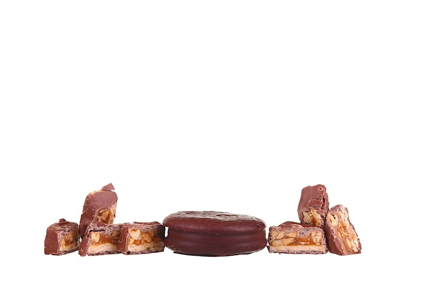 Chocolate bar isolated on a white background Premium Photo