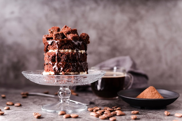Шоколадный торт с какао-порошком и кофейными зернами Premium Фотографии