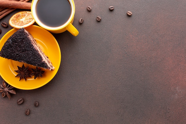 Chocolate cake with copy space Free Photo