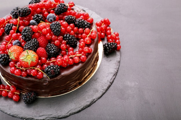 Chocolate cake with red and black currant Free Photo