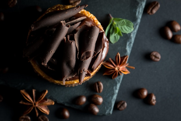 Chocolate cakes on black board. Premium Photo