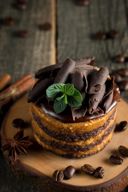 Chocolate cakes on black board. Premium Photo
