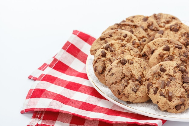 Chocolate chip cookie on white Premium Photo