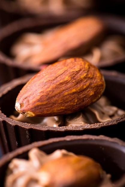 Chocolate close-up. various chocolate pralines Premium Photo