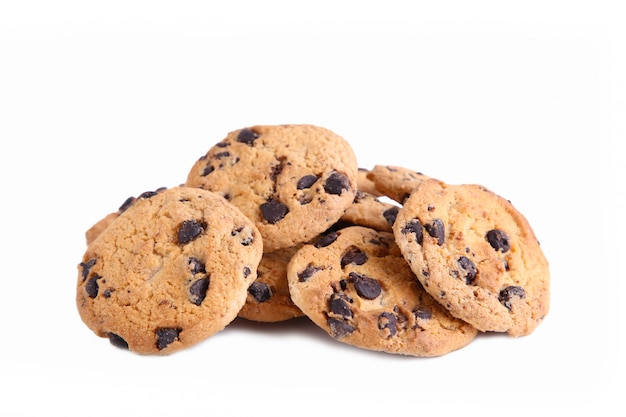 Chocolate cookies on white, chocolate chip cookies isolated Premium Photo