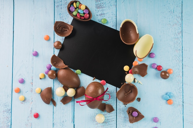 Chocolate eggs with black paper  Free Photo