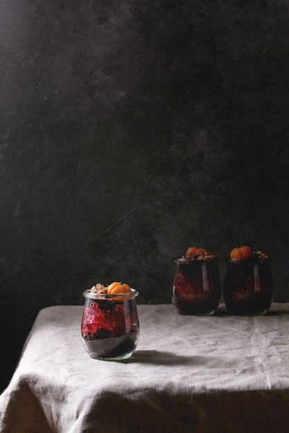 Chocolate halloween dessert Premium Photo
