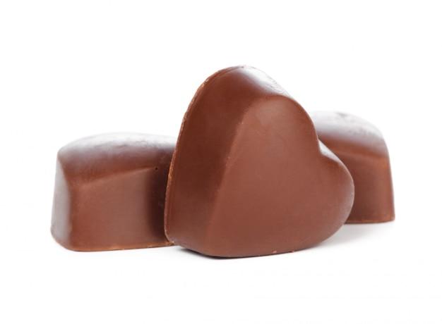 Chocolate hearts isolated on white Premium Photo