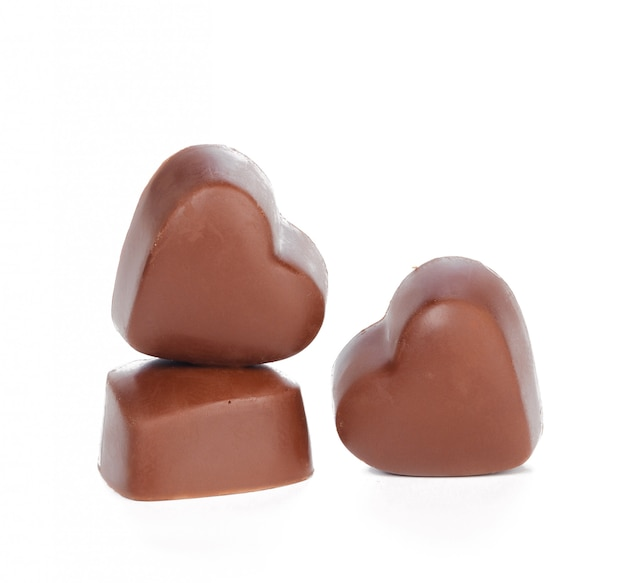 Chocolate hearts isolated Premium Photo