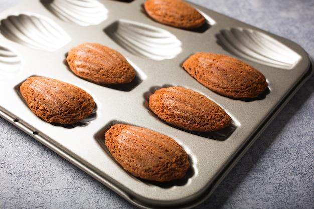 Chocolate madeleines cookies Premium Photo