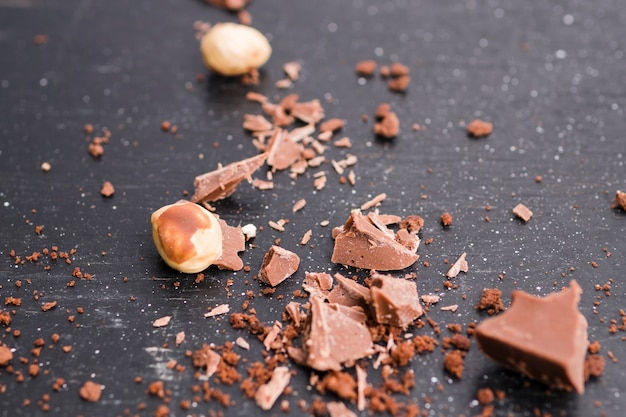 Chocolate pieces and nuts Free Photo