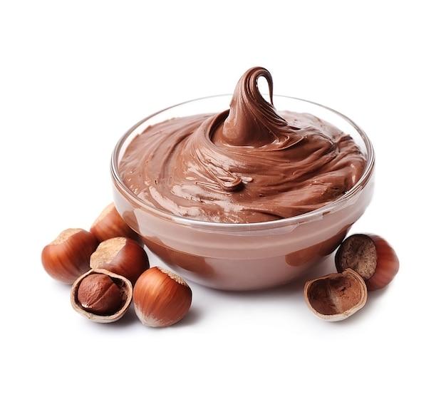 Chocolate spread with hazelnuts  isolated. nutella. Premium Photo
