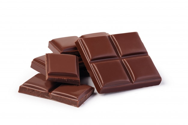 Chocolate on white background isolated Premium Photo