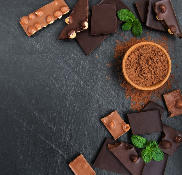 Chocolate with nuts background Premium Photo