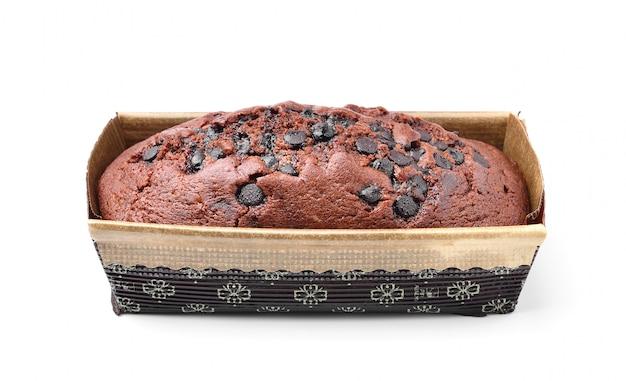 ホワイトスペースのボックスにチョコレートケーキ Premium写真