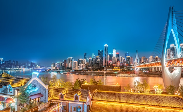 Chongqing night view and architectural landscape skyline Premium Photo