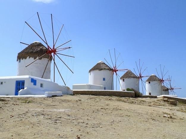 Chora windmills, the famous landmark of mykonos town, mykonos island of greece Premium Photo