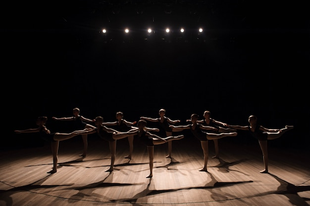 A choreographed dance of a group of graceful pretty young ballerinas practicing on stage in a classical ballet school Premium Photo