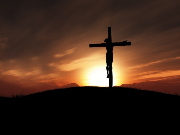 Christ crucified in the cross Free Photo
