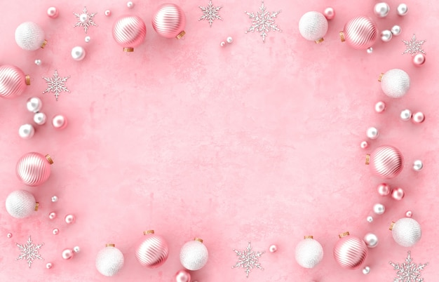 Christmas 3d decoration border frame with christmas ball, snowflake on pink background. christmas, winter, new year . flat lay, top view, copyspace. Premium Photo