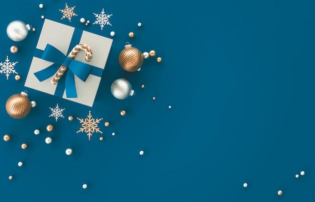 크리스마스 선물, 크리스마스 공, 파란색 배경에 눈송이와 3d 장식 구성. 크리스마스, 겨울, 새해. 평평하다, 평면도, Copyspace. 프리미엄 사진