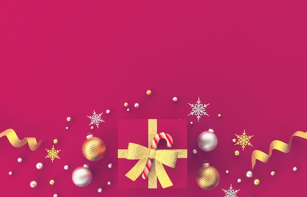 Christmas 3d decoration composition with gifts, christmas ball, snowflake on red background. christmas, winter, new year . flat lay, top view, copyspace. Premium Photo