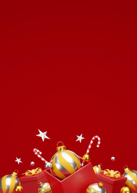 축제 장식 및 복사 공간 크리스마스와 새 해 복 많이 받으세요 배경. 3d 일러스트레이션 프리미엄 사진