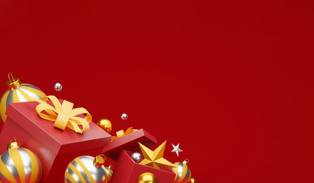 축제 장식 및 복사 공간 크리스마스와 새 해 복 많이 받으세요 배경. 프리미엄 사진