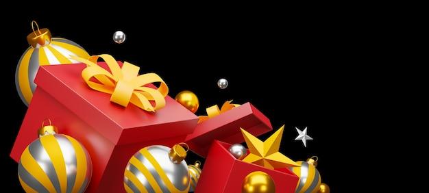 크리스마스와 새 해 복 많이 받으세요 검정색 배경입니다. 클리핑 경로. 3d 일러스트레이션 프리미엄 사진