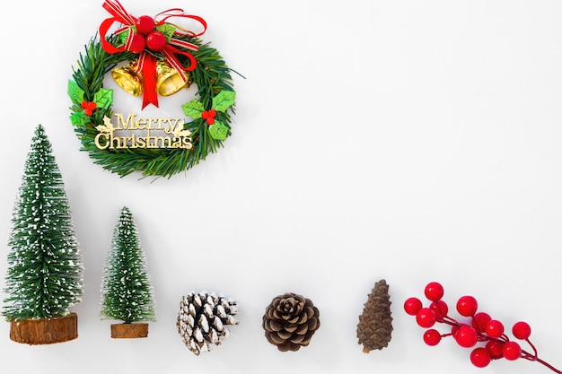 christmas and new year background christmas wreath miniature fir tree pine cones premium