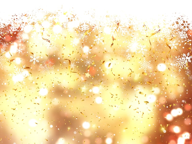 Christmas background of falling snowflakes and confetti Free Photo