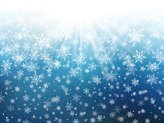 Christmas background of falling snowflakes Free Photo