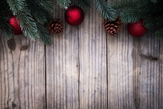 Christmas Wood Background.Christmas Background Fir Tree And Decorating Rustic