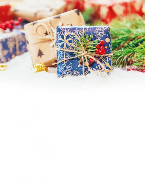 Christmas background. happy new year. selective focus Premium Photo
